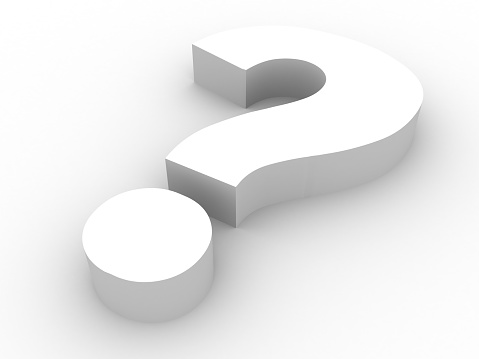 3-dimensional question mark resting on a white background